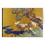 Paulownias blanco y crisantemos, Sakai Hoitsu Tarjetón