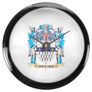 Paulsen Coat of Arms - Family Crest Aqua Clocks