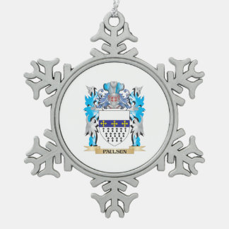 Paulsen Coat of Arms - Family Crest Snowflake Pewter Christmas Ornament