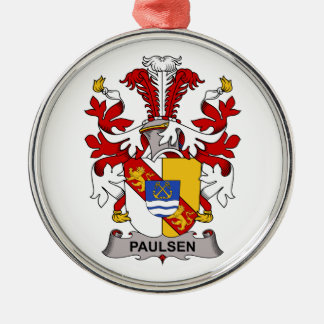 Paulsen Family Crest Round Metal Christmas Ornament
