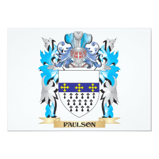 Paulson Coat of Arms - Family Crest 5x7 Paper Invitation Card