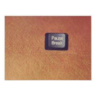 Pause-break key 6.5x8.75 paper invitation card