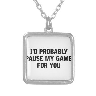 Pause My Game Silver Plated Necklace