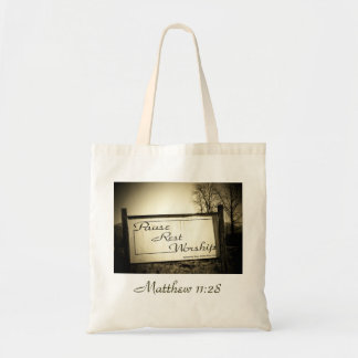 Pause Rest Worship Matthew 11:28 Tote Bag