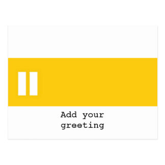 Pause symbol yellow stripe postcard
