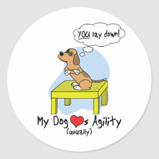 Pause Table Agility Humor Classic Round Sticker