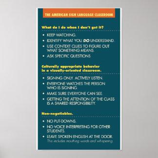Pautas de la sala de clase del ASL.  poster