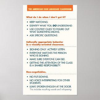 Pautas de la sala de clase del ASL. poster (bkgd l