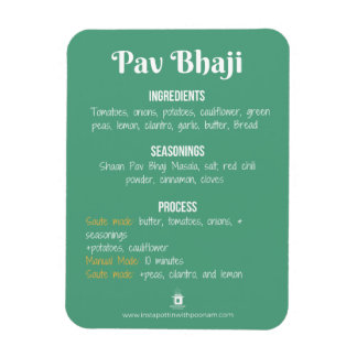 Pav Bhaji Recipe Magnet for Instant Pot