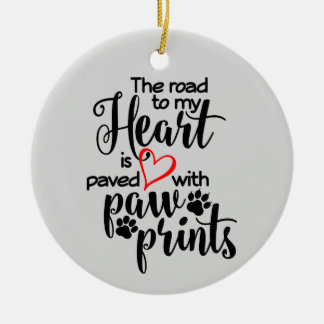 Paved In Paw Prints Ceramic Ornament