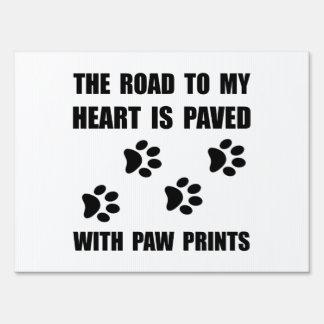 Paved Paw Prints Lawn Sign