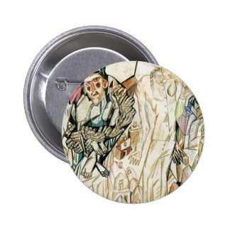 Pavel Filonov- Girl with a Flower Pinback Buttons