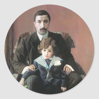 Pavel Filonov: Portrait of Arman Aziber & his son Round Stickers