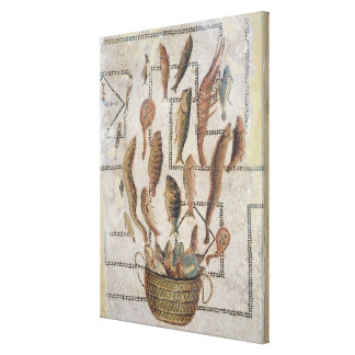 Pavement depicting fish escaping from a basket canvas print