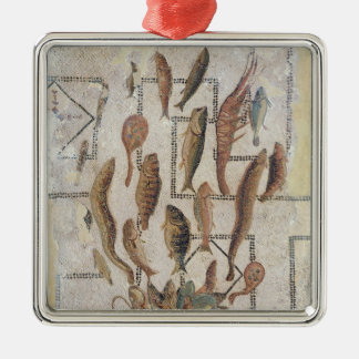 Pavement depicting fish escaping from a basket square metal christmas ornament