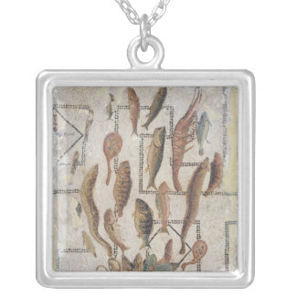 Pavement depicting fish escaping from a basket silver plated necklace
