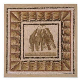 Pavement depicting five thrushes, from El-Jem Poster