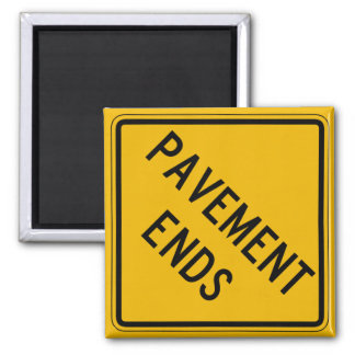 Pavement Ends 1, Traffic Warning Sign, USA 2 Inch Square Magnet