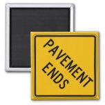 Pavement Ends 1, Traffic Warning Sign, USA Fridge Magnet