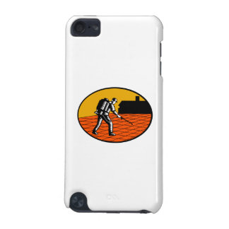 Paver Sealer Contractor House Oval Woodcut iPod Touch 5G Case