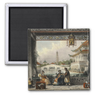Pavilion and Gardens of a Mandarin near Peking, fr 2 Inch Square Magnet