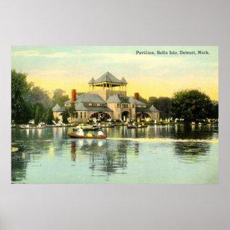 Pavilion Belle Isle, Detroit Michigan 1915 Vintage print