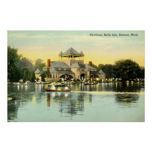 Pavilion Belle Isle, Detroit Michigan 1915 Vintage Poster