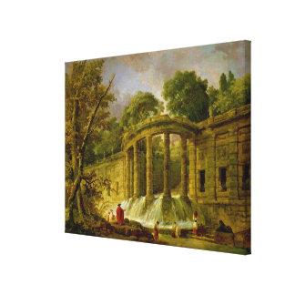 Pavilion with Cascade, 1760 Canvas Print