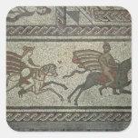 Pavimento de mosaico del chalet romano en el punto pegatina cuadrada