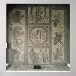 Pavimento de mosaico del chalet romano en el punto póster