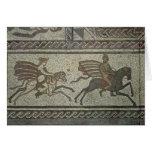 Pavimento de mosaico del chalet romano en el punto felicitaciones