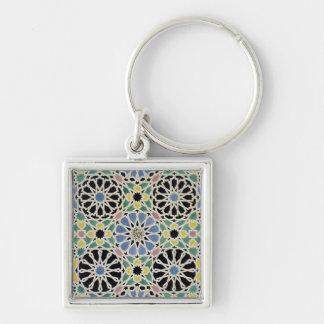Pavimento de mosaico en Alhambra, 'del árabe Llavero Cuadrado Plateado