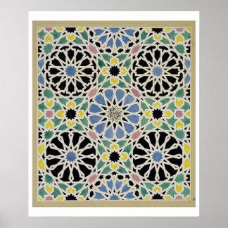 Pavimento de mosaico en Alhambra, 'del árabe Póster