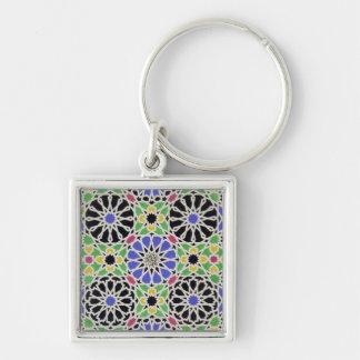 Pavimento de mosaico en el vestuario del sultán llavero cuadrado plateado
