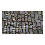 Pavimento del guijarro con el musgo que crece entr tarjetas de visita