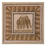 Pavimento que representa cinco tordos, de EL-Jem Póster