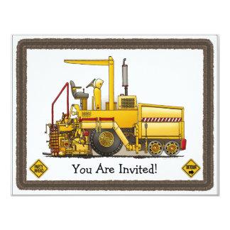 Paving Machine Construction Kids Party Invitation