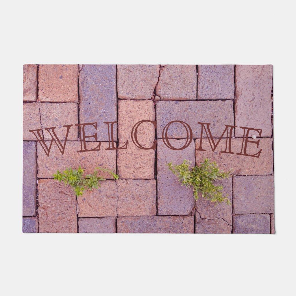 Paving Stones and Weeds In The Walkway Photograph Doormat