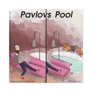Pavlov's Pool Funny Cartoon Canvas Print