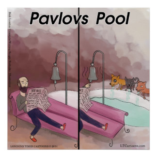 Pavlov's Pool Funny Cartoon Poster Posters