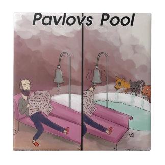 Pavlov's Pool Funny Cartoon Tile