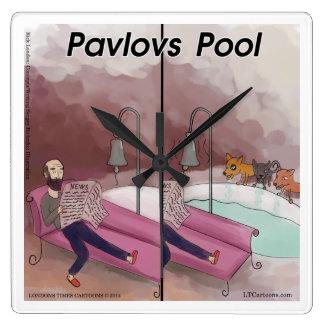 Pavlov's Pool Funny Psychology Cartoon Clock Wallclocks