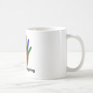 pavo, acción de gracias taza de café