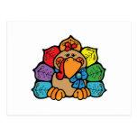 pavo colorido lindo del dibujo animado postal