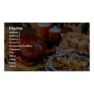 Pavo de la carne asada, patatas sazonadas plantillas de tarjetas de visita