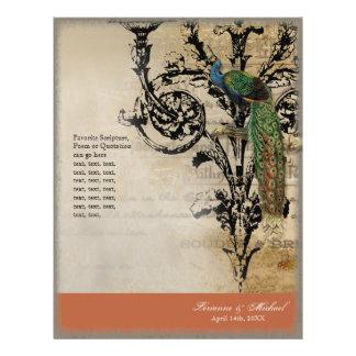 Pavo real 6 del vintage - programa elegante del bo flyer personalizado