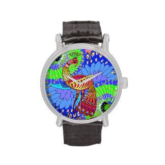 Pavo real - a solas - Illustation - reloj