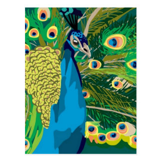 Pavo real abstracto colorido postal