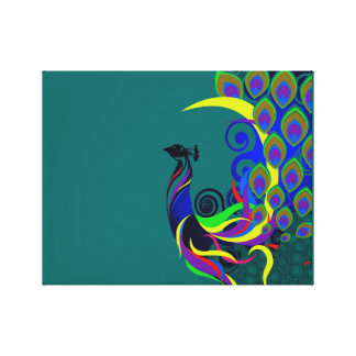 Pavo real abstracto lienzo envuelto para galerías