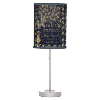 Pavo real antiguo del orgullo y del perjuicio de lámpara de mesa